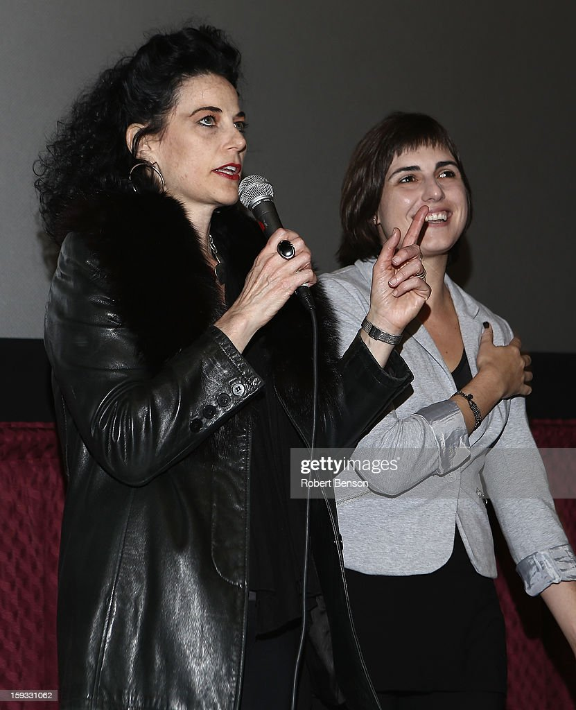 Palm Springs Film Festival programmer, Hebe Tabachnik (L) speaks with film director Daniela Seggiaro before the screening of her feature film Iberoamerican at the 24th Annual Palm Springs International Film Festival on January 11, 2013 in Palm Springs, California.