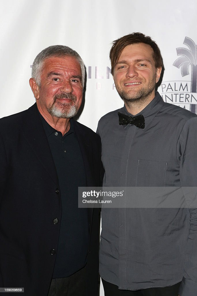 Palm Springs International Film Festival director Darryl Macdonald (L) and director Rafael Ouellet arrive at the Canadian film party at the 24th annual Palm Springs International Film Festival on January 6, 2013 in Palm Springs, California.