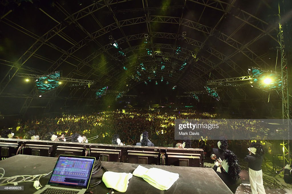 Palm Springs Marching Band performs onstage with Big Gigantic during day 3 of the 2014 Coachella Valley Music & Arts Festival at the Empire Polo Club on April 13, 2014 in Indio, California.