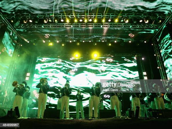 Palm Springs Marching Band performs onstage with Big Gigantic during day 3 of the 2014 Coachella Valley Music Arts Festival at the Empire Polo Club...