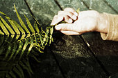 Palm Sunday Photo Art Concept with young woman laying and her hand holding the palm leaves. Christian spiritual symbol.