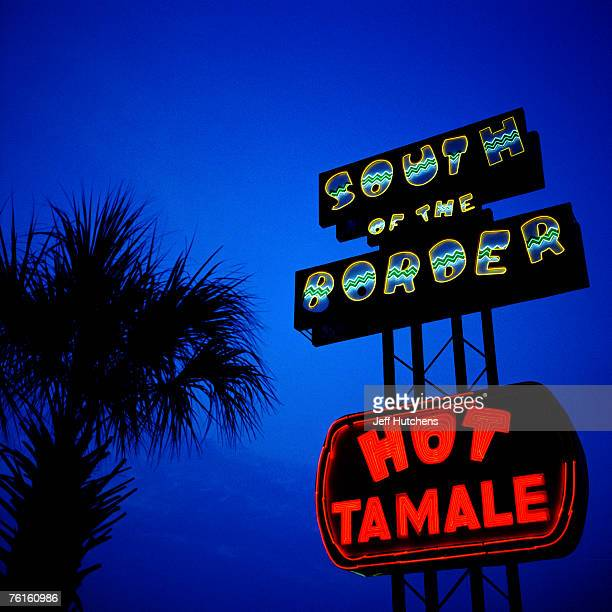 A palm tree and neon signs compete for the South of the Border skyline on July 21 2006 in Dillon South Carolina Nearly unrivaled as a tourist trap...