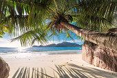 Paradise beach of Seychelles. Anse Lazio beach on Praslin island in Seychelles.