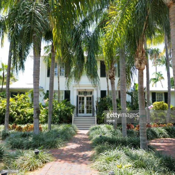 palm trees in front of house Key West Florida USA