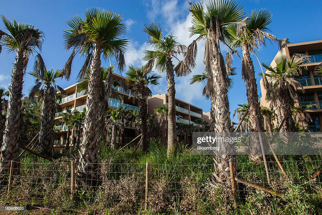 Palm trees surround villas and apartments at the closed Herdade dos Salgados Resort of luxury apartments, operated by ECS Capital, near Albufeira, Algarve region, Portugal, on Saturday, March 9, 2013. The tourism and real estate sector's recovery is crucial for Portugal's economy, which the government projects will return to growth next year, after shrinking an estimated 1 percent in 2013 and 3 percent in 2012. Photographer: Mario Proenca/Bloomberg via Getty Images