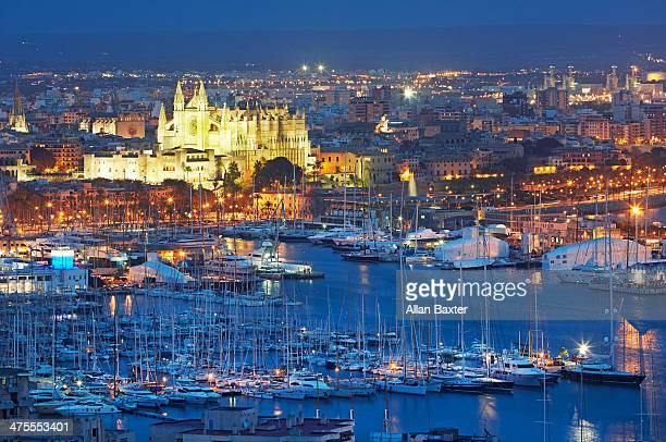 Palma cathedral and harbourfront at dusk