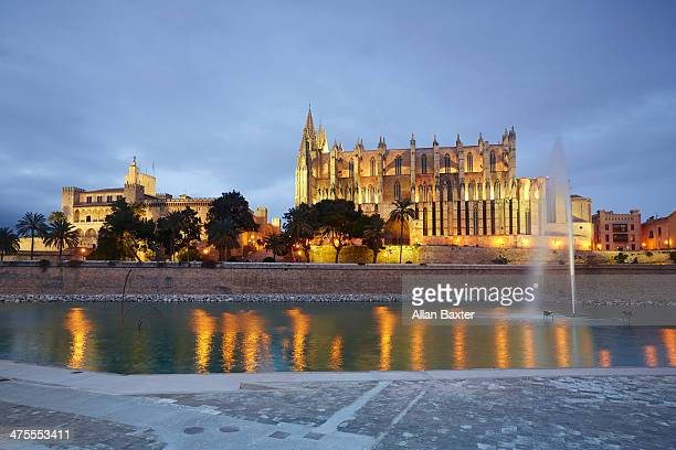 Palma Cathedral illuminated at dusk
