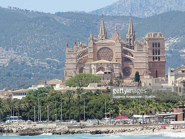 Palma Cathedral In Front Of Mountains