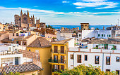 Spain Majorca, old town Palma de Mallorca with view of the famous Cathedral La Seu