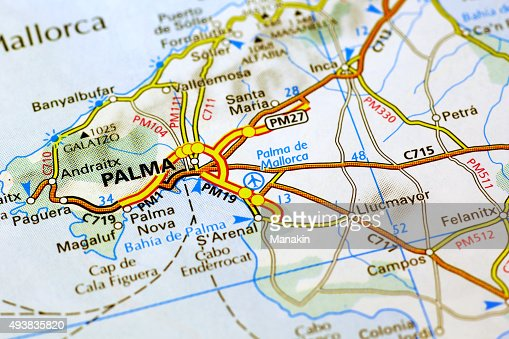Palma De Mallorca On A Map Stock Photo Thinkstock