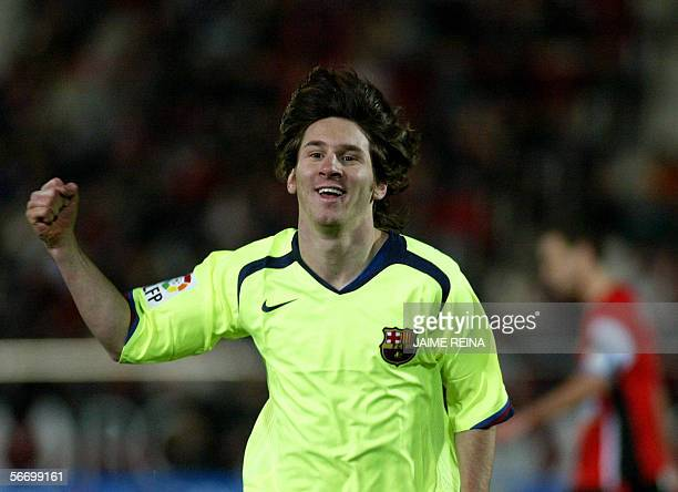 Barcelona's Lionel Mesi of Argentinian celebrates after scoring a goal against Mallorca's during their Spanish League football match at Son Moix...