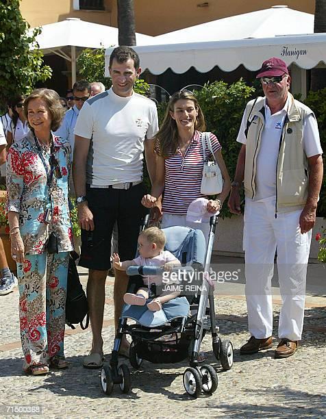 Spain's Queen Sofia Prince Felipe and daughter Leonor Princess Letizia and King Juan Carlos pose at Puerto Portals on the Spanish island of Mallorca...