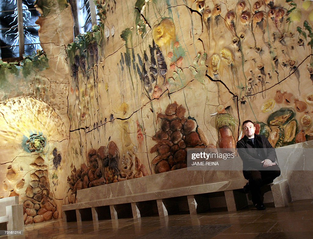 Spanish artist Miquel Barcelo looks at his artwork covering the walls of the chapel of Santisimo in Palma de Mallorca's gothic cathedral 31 January...