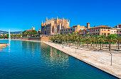 Cathedral La Seu and Parc de la Mar in Palma de Majorca, Spain