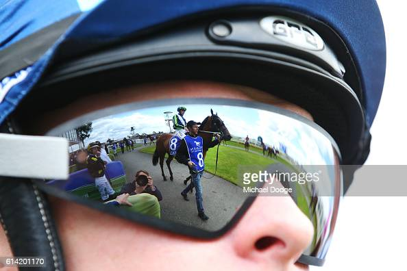 Palma Merenti ridden by Ben Allen is seen from a fellow jockey's goggles in Latrobe City Maiden Plate at Moe Racecourse on October 13 2016 in Moe...