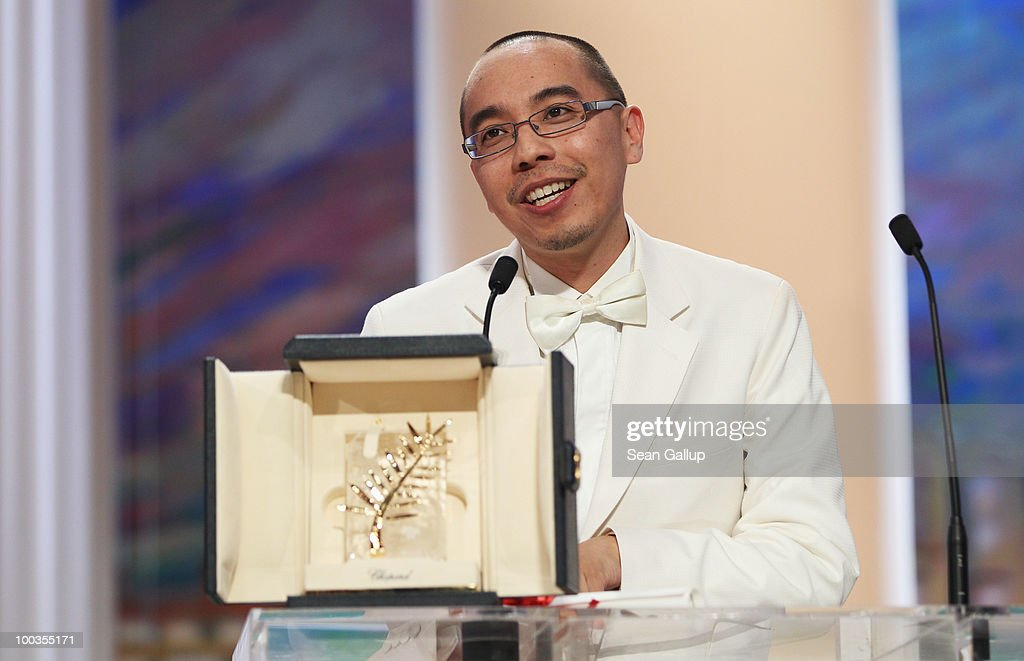 Palme d'Or winner for ''Uncle Boonmee Who Can Recall His Past Lives' ('Lung Boonmee Raluek Chat') director <a gi-track='captionPersonalityLinkClicked' href=/galleries/search?phrase=Apichatpong+Weerasethakul&family=editorial&specificpeople=171180 ng-click='$event.stopPropagation()'>Apichatpong Weerasethakul</a> looks on during the Palme d'Or Award Ceremony held at the Palais des Festivals during the 63rd Annual Cannes Film Festival on May 23, 2010 in Cannes, France.