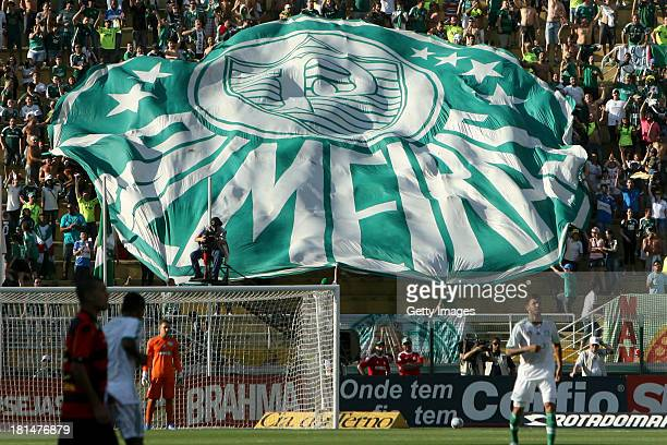 Palmeiras logo covers the fans during the match between Palmeiras and Sport for the Brazilian Series B 2013 at Pacaembu stadium on September 21 2013...
