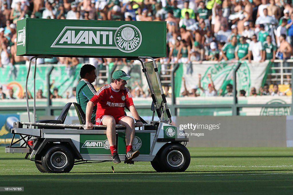 A Palmeiras medical car drives during the match between Palmeiras and Sport for the Brazilian Series B 2013 at Pacaembu stadium on September 21, 2013 in Sao Paulo, Brazil.