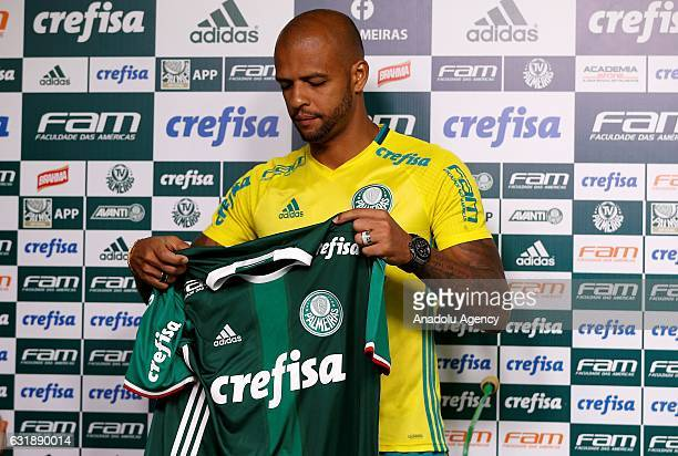 Palmeiras's new Brazilian player Felipe Melo is seen during his official presentation in Sao Paulo Brazil on January 17 2017