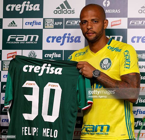 Palmeiras's new Brazilian player Felipe Melo poses during his official presentation in Sao Paulo Brazil on January 17 2017
