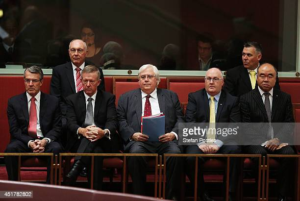 Palmer United leader Clive Palmer watches on during the official swearing in of the new Senate on July 7 2014 in Canberra Australia Twelve Senators...