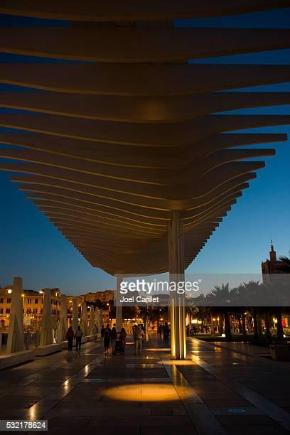 Palmeral de las Sorpresas promenade in Malaga, Spain