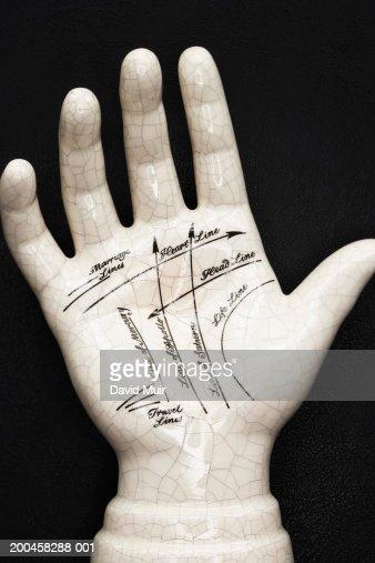 Palmistry model, against black background, close-up : Stock Photo
