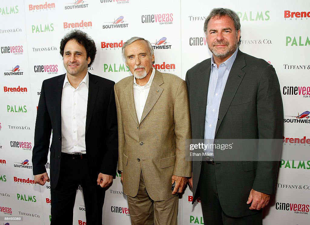 Palms Casino Resort President George Maloof, actor Dennis Hopper, and Danny Greenspun arrive at the awards reception during the 11th annual CineVegas film festival held at Rain Nightclub inside the Palms Casino Resort on June 14, 2009 in Las Vegas, Nevada.