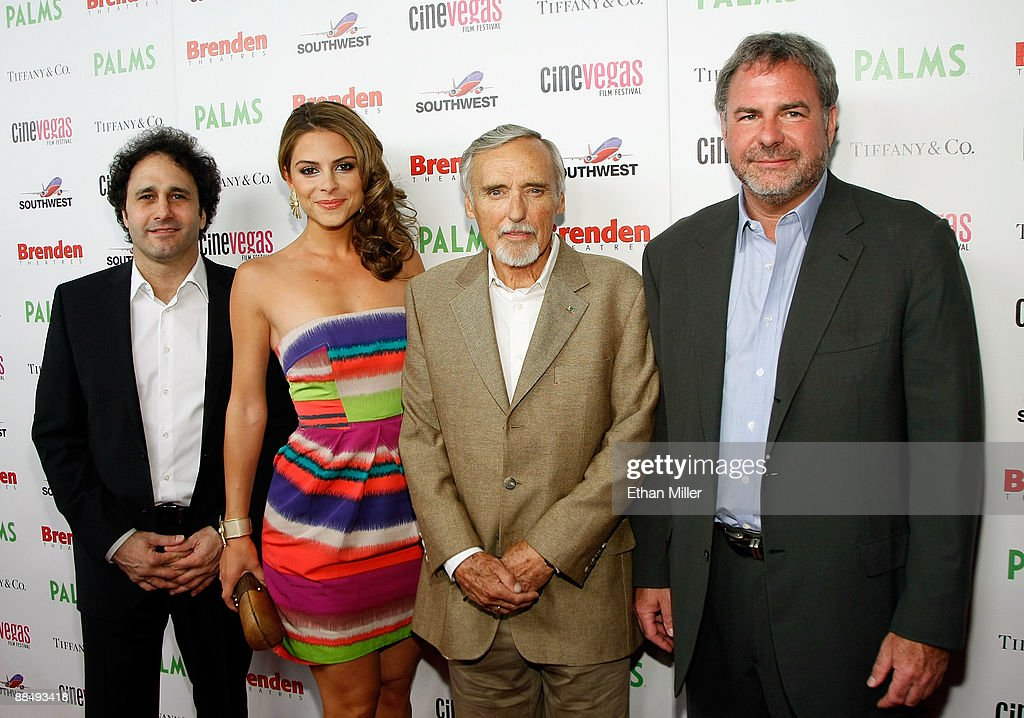 Palms Casino Resort President George Maloof, TV personality Maria Menounos, actor Dennis Hopper, and Danny Greenspun arrive at the awards reception during the 11th annual CineVegas film festival held at Rain Nightclub inside the Palms Casino Resort on June 14, 2009 in Las Vegas, Nevada.