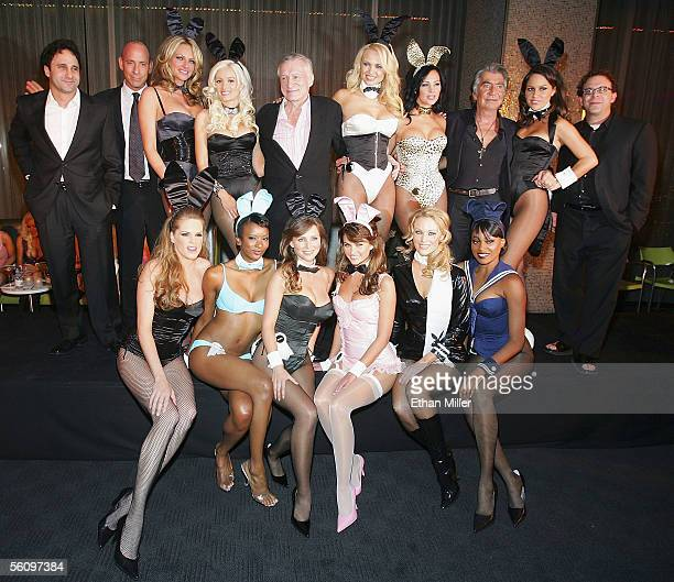 Palms owner George Maloof Nine Group coowner Michael Morton Playmates Stacy Sanches and Holly Madison Playboy founder and EditorinChief Hugh Hefner...