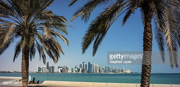 Palmtrees and Doha skyline