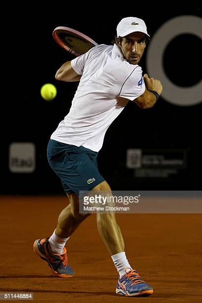 Palo Cuevas of Uraguay returns a shot to Rafael Nadal of Spain during the Rio Open at Jockey Club Brasileiro on February 20 2016 in Rio de Janeiro...
