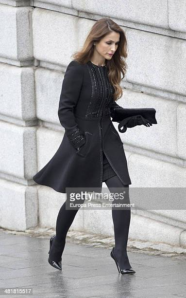 Paloma Cuevas arrives the state funeral ceremony for former Spanish prime minister Adolfo Suarez at the Almudena Cathedral on March 31 2014 in Madrid...