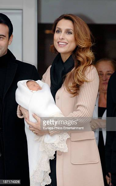 Paloma Cuevas presents her second daughter Bianca Ponce who was born on 9th January at Ruber International Hospital on January 15 2012 in Madrid Spain