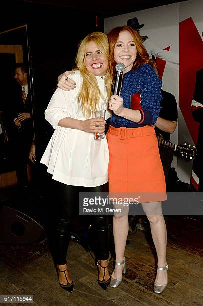 Paloma Faith and Angela Scanlon on stage at The Voice UK Open Mic Night at The Scotch of St James on March 23 2016 in London England
