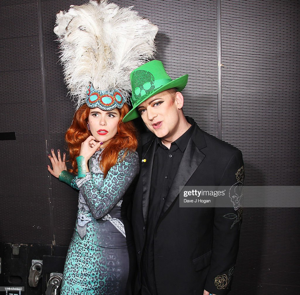 Paloma Faith and Boy George pose backstage at the Keep a Child Alive Black Ball 2011 at Camden Roundhouse on June 15, 2011 in London, England.