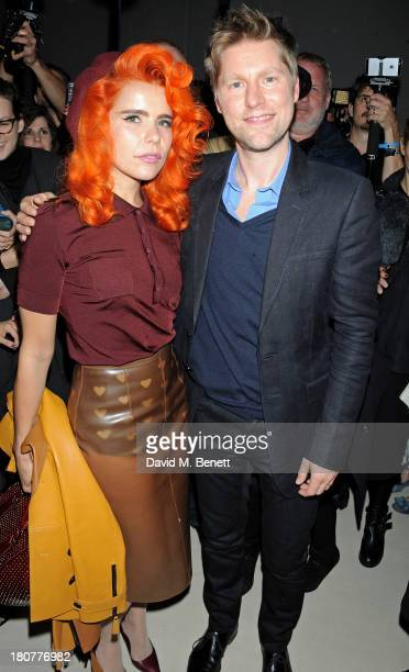Paloma Faith and Christopher Bailey pose backstage at Burberry Prorsum Womenswear Spring/Summer 2014 show during London Fashion Week at Kensington...