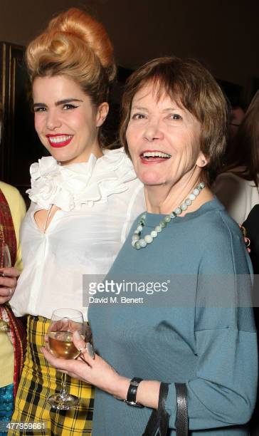Paloma Faith and Dame Joan Bakewell attend a private screening of 'The Zero Theorem' at the Charlotte Street Hotel on March 11 2014 in London England