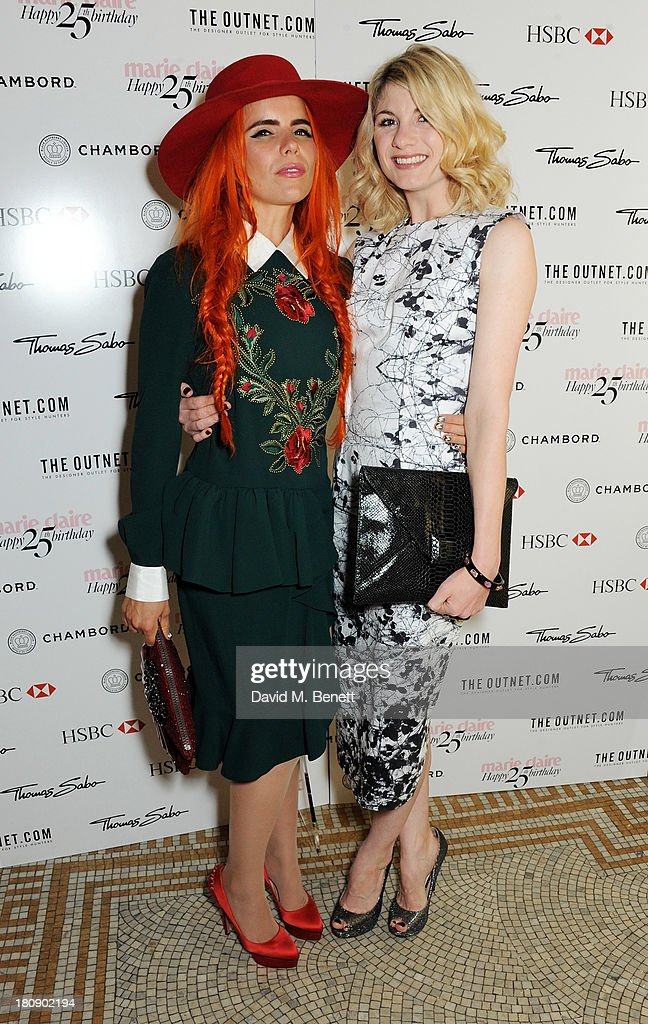 <a gi-track='captionPersonalityLinkClicked' href=/galleries/search?phrase=Paloma+Faith&family=editorial&specificpeople=4214118 ng-click='$event.stopPropagation()'>Paloma Faith</a> (L) and <a gi-track='captionPersonalityLinkClicked' href=/galleries/search?phrase=Jodie+Whittaker&family=editorial&specificpeople=3964596 ng-click='$event.stopPropagation()'>Jodie Whittaker</a> arrive at the Marie Claire 25th birthday celebration featuring Icons of Our Time in association with The Outnet at the Cafe Royal Hotel on September 17, 2013 in London, England.