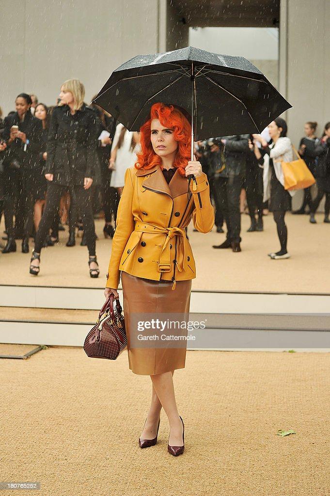 Paloma Faith arrives at Burberry Prorsum Womenswear Spring/Summer 2014 show during London Fashion Week at Kensington Gardens on September 16, 2013 in London, England.