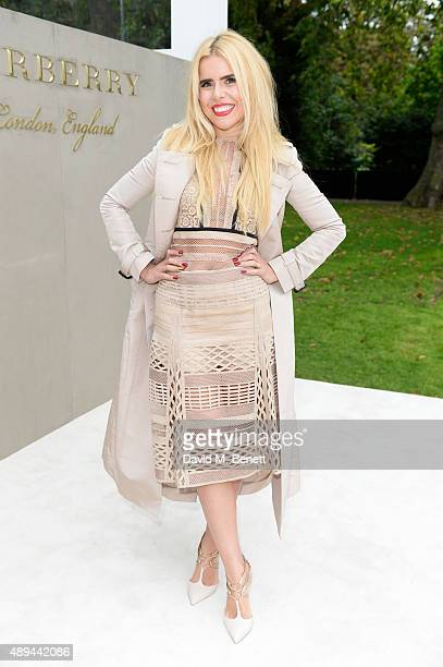 Paloma Faith arrives at Burberry Womenswear Spring/Summer 2016 show during London Fashion Week at Kensington Gardens on September 21 2015 in London...