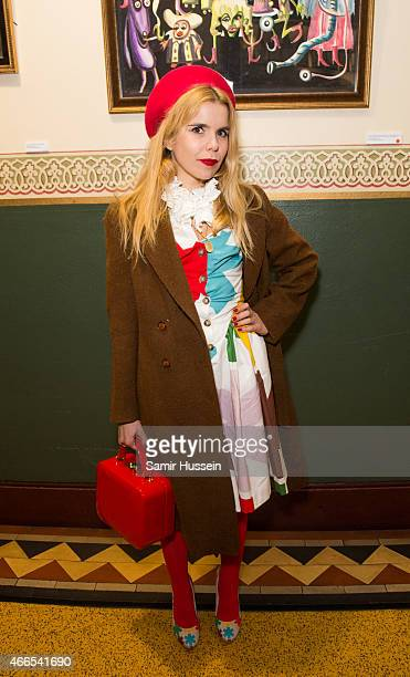 Paloma Faith attends a private view of the Noel Fielding art exhibition 'He Wore Dreams Around Unkind Faces' at the Royal Albert Hall on March 16...
