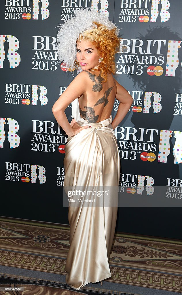 <a gi-track='captionPersonalityLinkClicked' href=/galleries/search?phrase=Paloma+Faith&family=editorial&specificpeople=4214118 ng-click='$event.stopPropagation()'>Paloma Faith</a> attends as the nominations for the BRIT Awards are announced at The Savoy Hotel on January 10, 2013 in London, England.