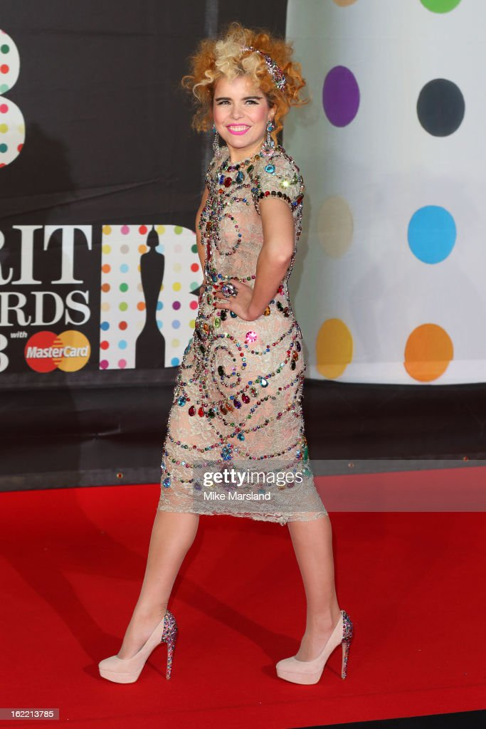 <a gi-track='captionPersonalityLinkClicked' href=/galleries/search?phrase=Paloma+Faith&family=editorial&specificpeople=4214118 ng-click='$event.stopPropagation()'>Paloma Faith</a> attends the Brit Awards at 02 Arena on February 20, 2013 in London, England.