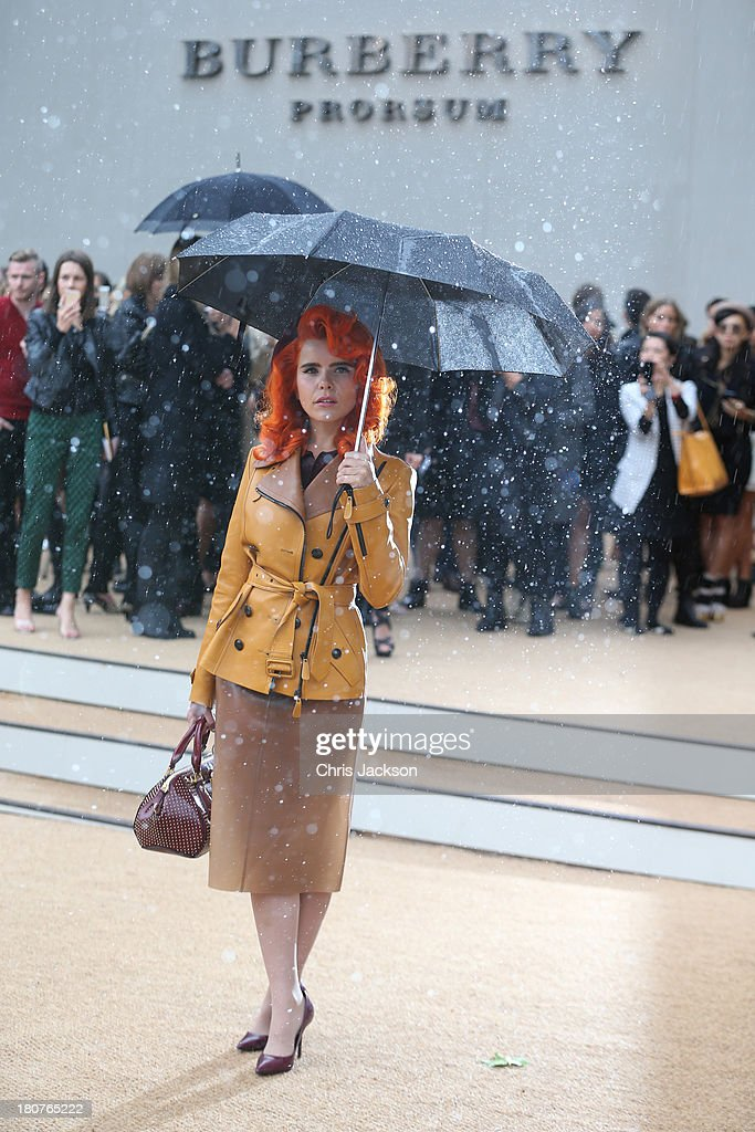 Paloma Faith attends the Burberry Prorsum show at London Fashion Week SS14 at Kensington Gardens on September 16, 2013 in London, England.