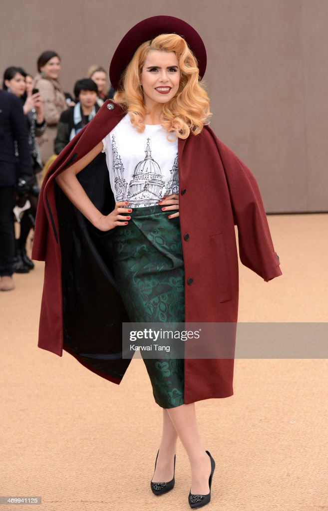 <a gi-track='captionPersonalityLinkClicked' href=/galleries/search?phrase=Paloma+Faith&family=editorial&specificpeople=4214118 ng-click='$event.stopPropagation()'>Paloma Faith</a> attends the Burberry Prorsum show at London Fashion Week AW14 at Kensington Gardens on February 17, 2014 in London, England.