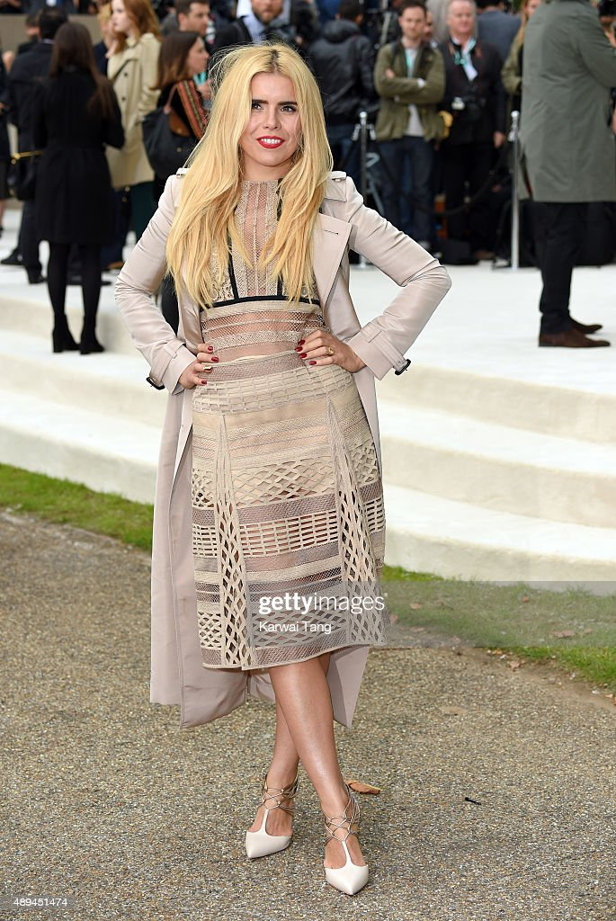 Paloma Faith attends the Burberry Prorsum show during London Fashion Week Spring/Summer 2016/17 at Kensington Gardens on September 21, 2015 in London, England.