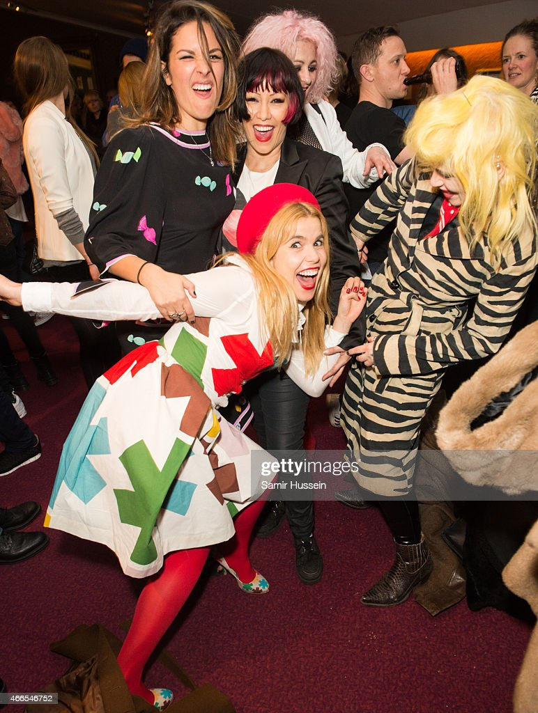 Paloma Faith, Lliana Bird, Saffron, Lyndell Mansfield and Pam Hogg attend a private view of the Noel Fielding art exhibition 'He Wore Dreams Around Unkind Faces' at the Royal Albert Hall on March 16, 2015 in London, England.