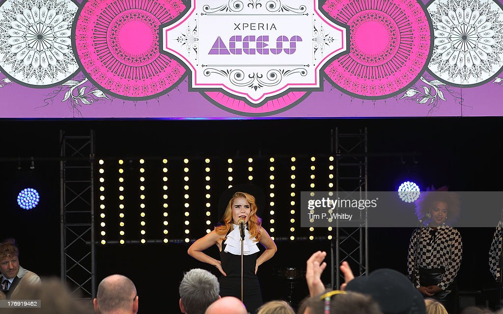 Paloma Faith performs on Sony's Xperia Access acoustic stage in the Virgin Media Louder Lounge on Day 1 of the V Festival on August 17, 2013 in Chelmsford, England. Unseen footage of Paloma Faith's performance can be viewed at the Sony Mobile GB Facebook page.