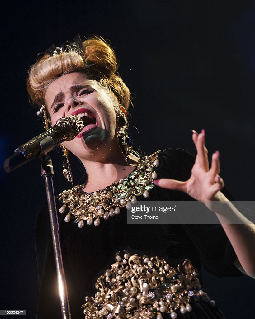 <a gi-track='captionPersonalityLinkClicked' href=/galleries/search?phrase=Paloma+Faith&family=editorial&specificpeople=4214118 ng-click='$event.stopPropagation()'>Paloma Faith</a> performs on stage at the Civic Hall on February 2, 2013 in Wolverhampton, England.